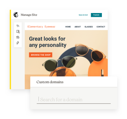 A look at Mailchimp's Custom Domain search tool and website builder