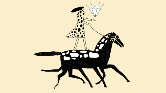 Person carrying large diamond while riding horse with seven legs and three eyes.