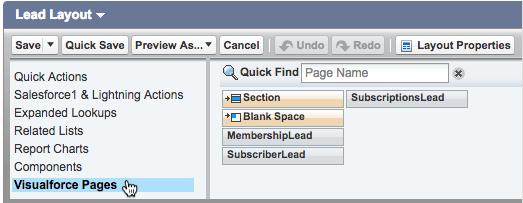 Cursor clicks visualforce option.
