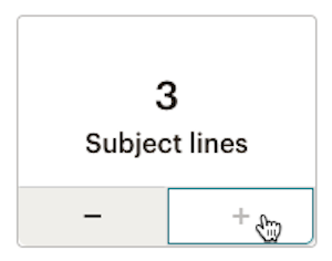 Cursor hovers over plus icon to choose 3 subject lines.