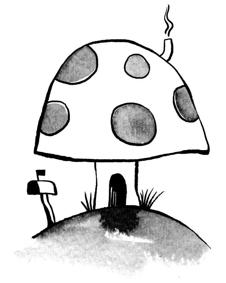 Illustration of a mushroom house