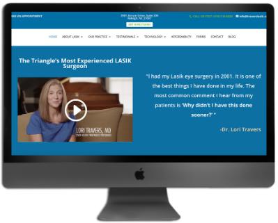 Desktop displaying custom website.