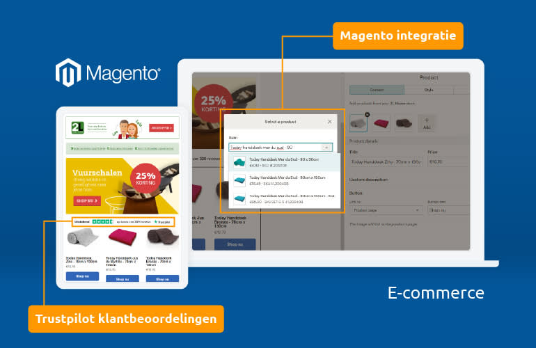 Digital graphic showing a white colored tablet and laptop against a blue background. Magento logo in white above the tablet and to the left of the laptop screen. Both screens display an e-commerce store. Parts of the screen are highlighted in yellow to display Magento integration with site.