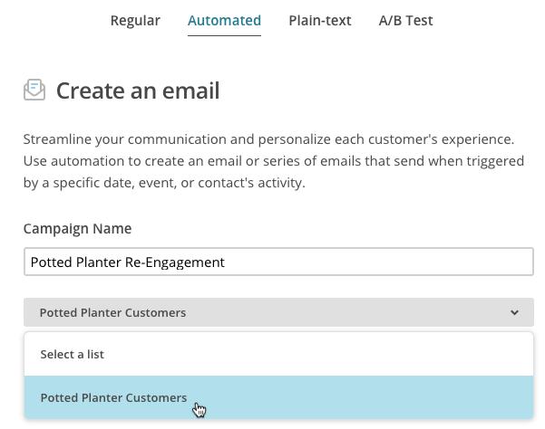 automatisation - campaign name (nom de la campagne) - liste d'envoi