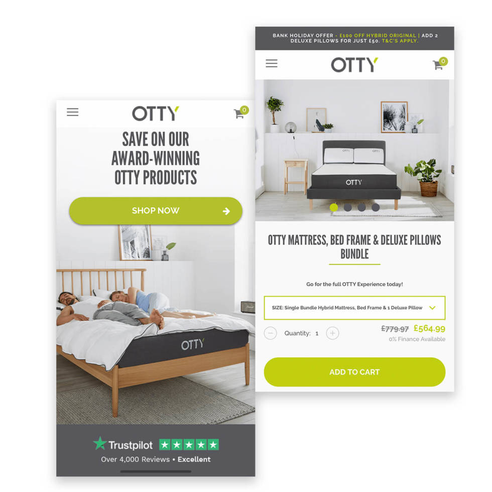 Two screenshots displaying a mobile shopify layout for a mattress and bedding company.