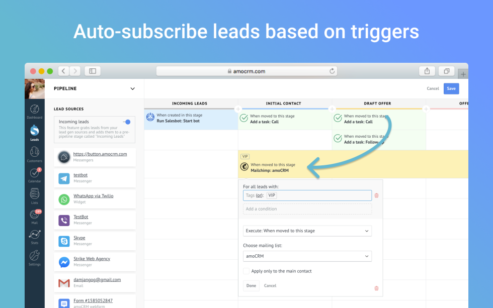 Image of an auto subscribe option with the text auto subscribe leads based on triggers