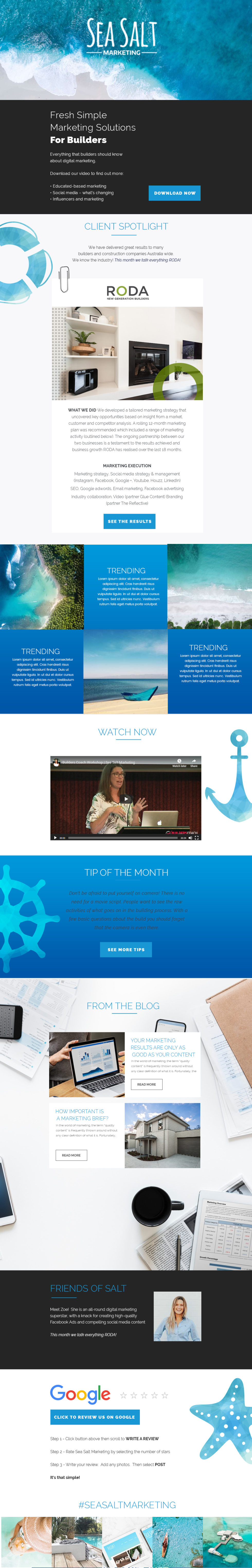 Email newsletter template featuring company spotlights. Template includes graphic design, images, and color themes in shades of blue. Text box descriptions next to images and link to e-commerce stores.