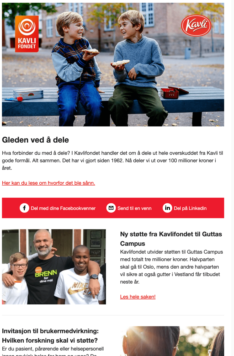 Image of a newsletter for Kavli Fondet