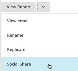 The dropdown menu showing the social share option on the campaigns page.
