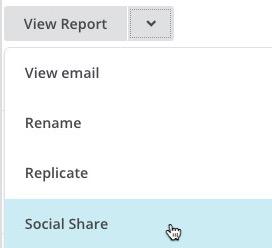 El menú desplegable mostrando la opción Social Share en la página de campañas.