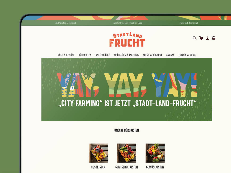 Screenshot of website design. Includes logo in center top of page with hyperlink dropdown bars and a large rectangular image header with fun, large lettering.