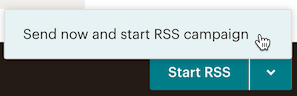 Cursor clicks button to start RSS campaign