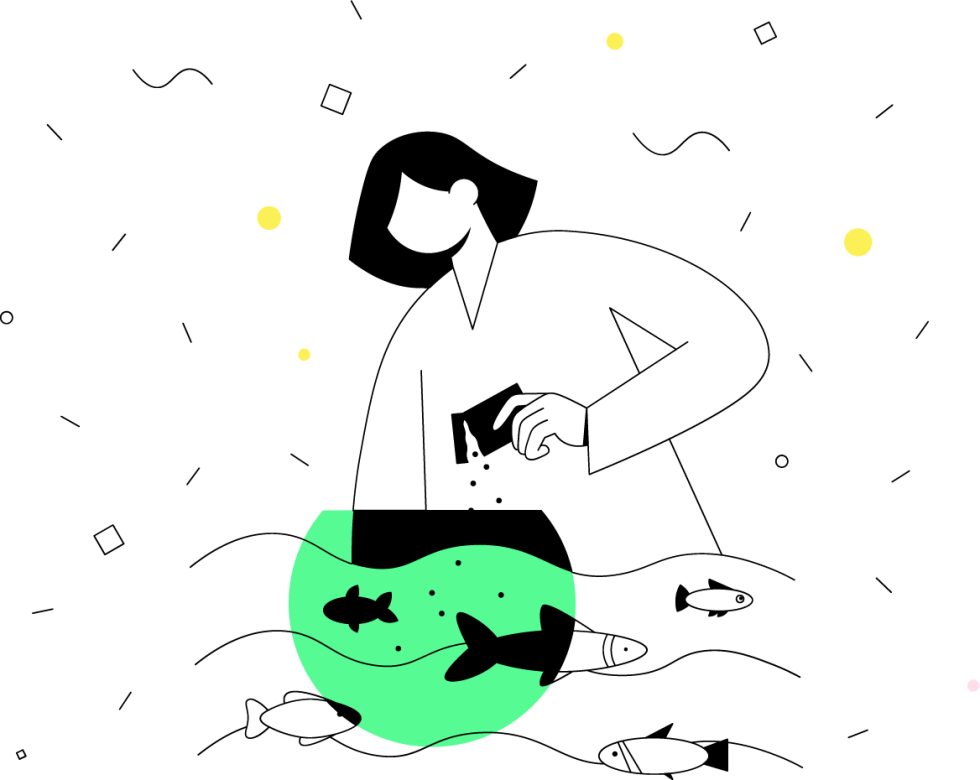 Image of cartoon character feeding fish