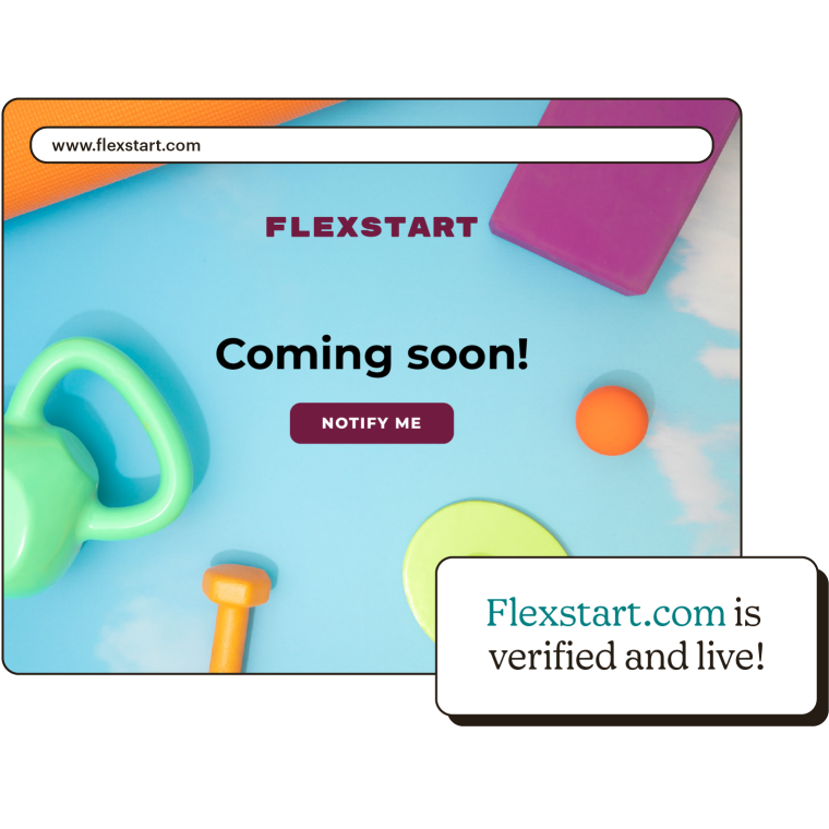 A coming soon page that says that flexstart.com is verified and live.