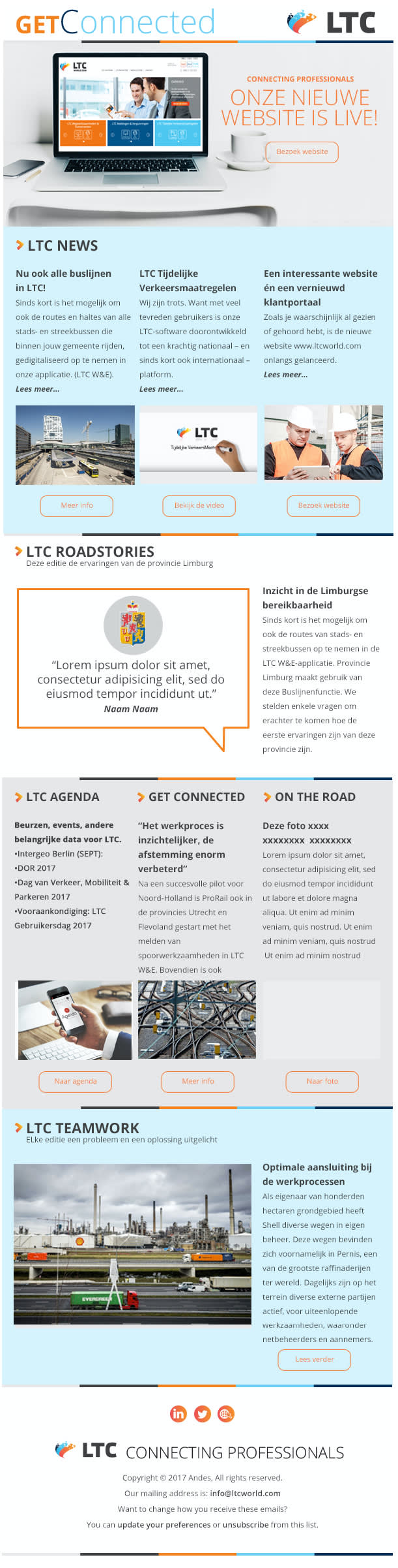 A Mailchimp newsletter template.