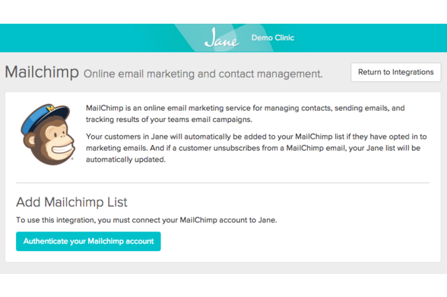 screenshot 2484 Jane mailchimp setup screen