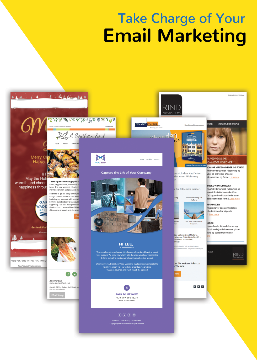 Image of newsletters with the text take charge of your email marketing.