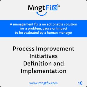 Management Fix 16 Process Improvement Initiatives Definition and Implementation