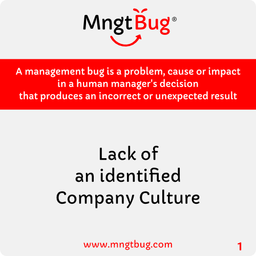 Management Bug 1 Lack of and identified Company Culture