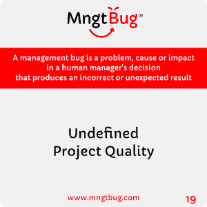 Management Bug 19 Undefined Project Quality