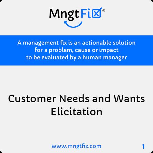 Management Fix 1 Customer Needs and Wants Elicitation