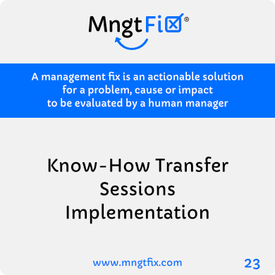 Management Fix 23 Know-How Transfer Sessions Implementation