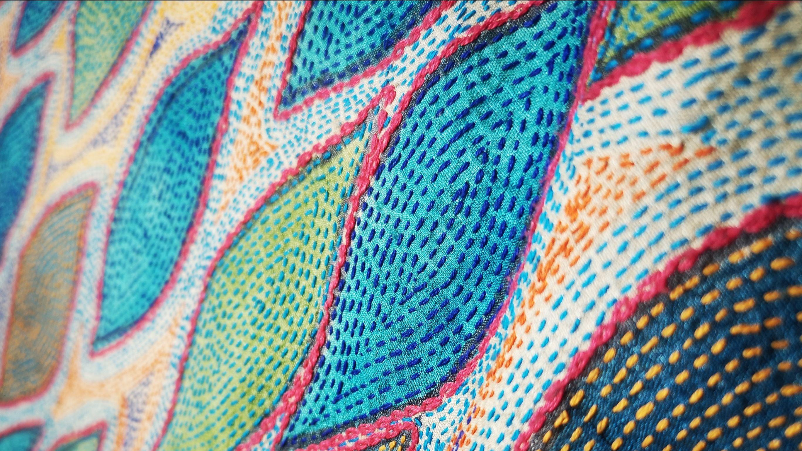Broderies de plumes de paon sur un sari
