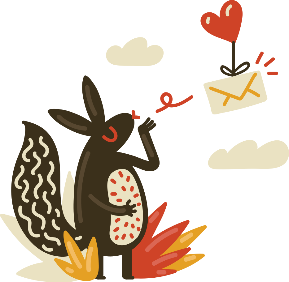 illustrated squirrel blowing kiss at an envelope