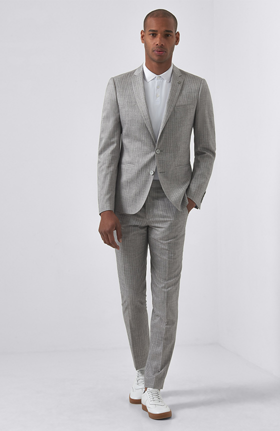 casual grey pinstripe suit
