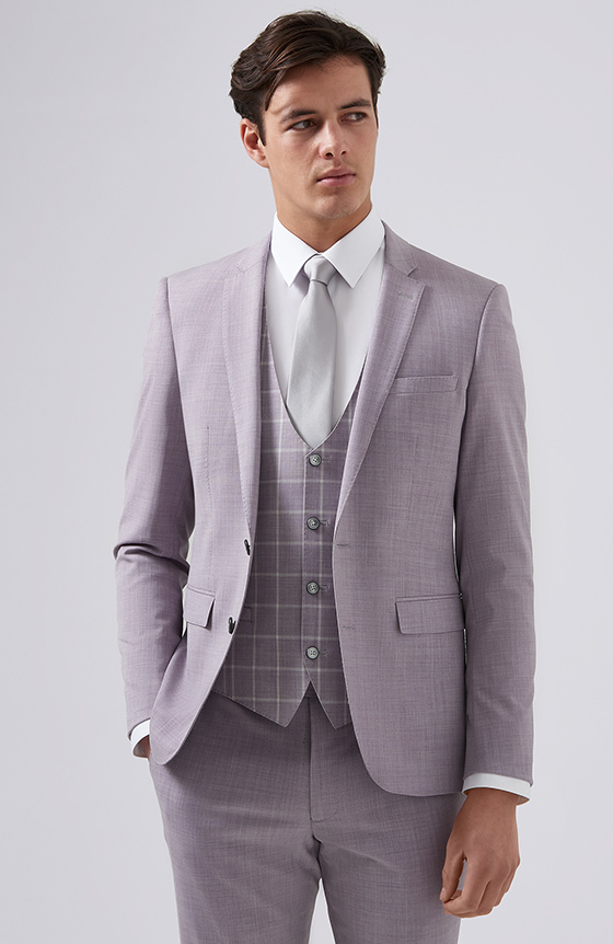 pink suit with check waistcoat