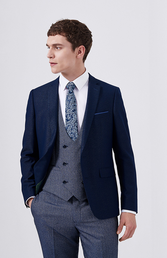 blue suit with contrast jacket and DB waistcoat